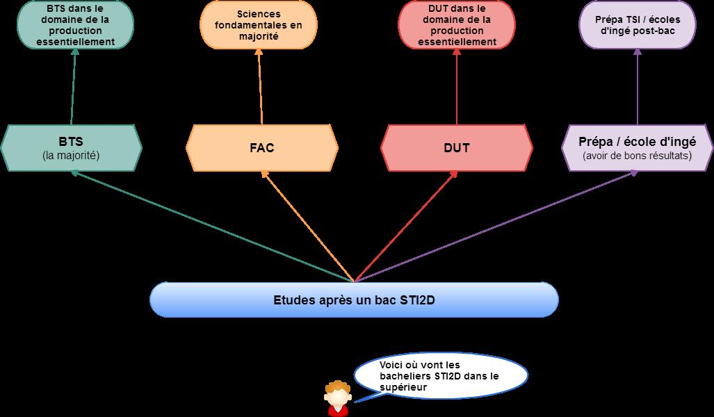 Schéma des études possibles après le bac STI2D