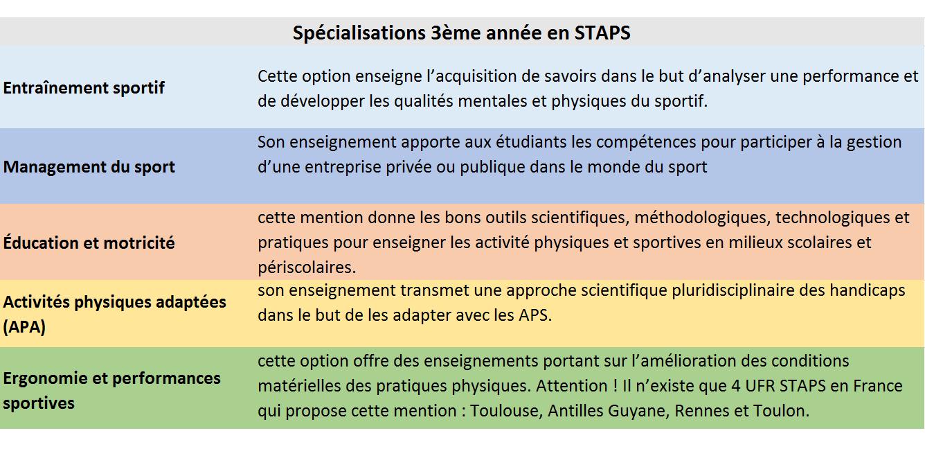 Programme spécialisation licence 3 STAPS