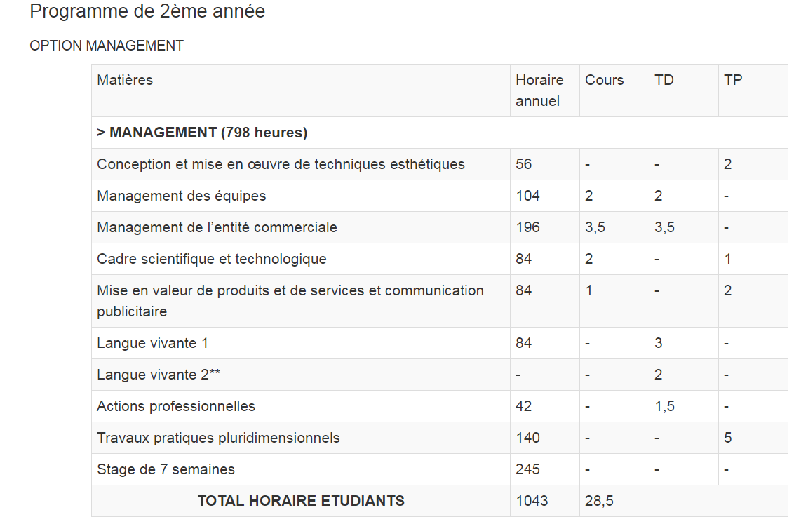 programme 2ème annee option management